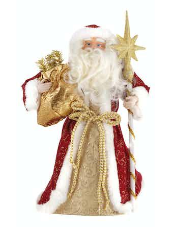 Сувенир Дед мороз с подарком и посохом