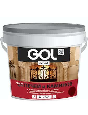 Краска для печей и каминов GOL expert, красно-коричневая, 1 л