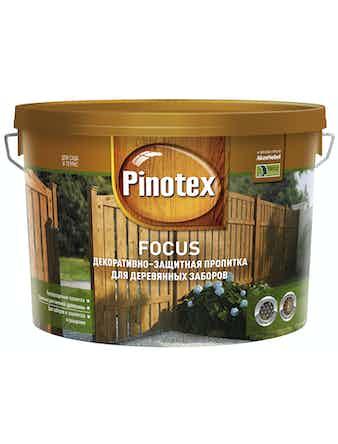 Пропитка декоративно-защитная для деревянных заборов Pinotex FOCUS Кр. дерево 10л