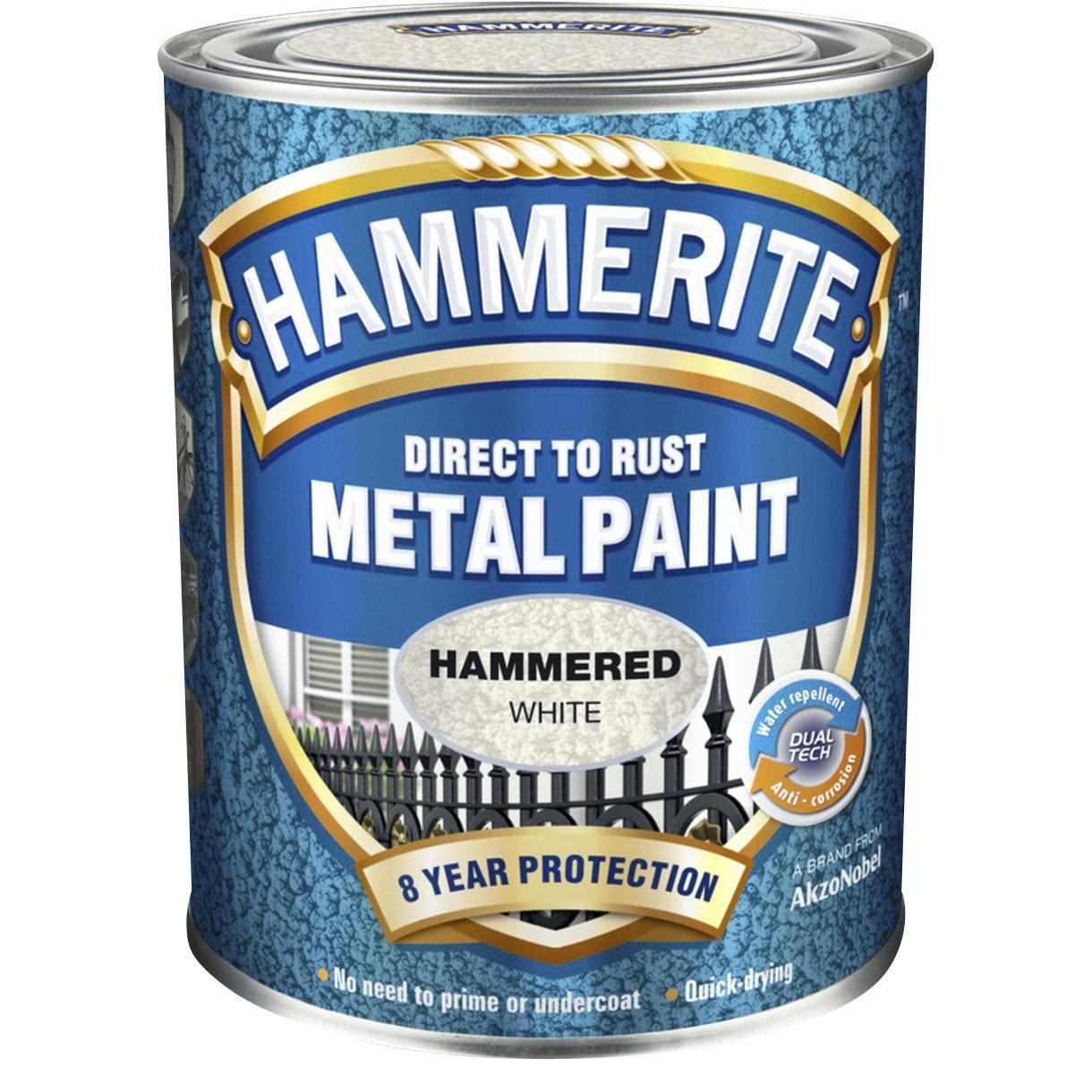 Hammarlack Hammerite Hammered Finish Högblank Gråvit 750ml