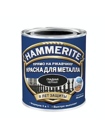 Краска Hammerite гладкая, черная, 5 л