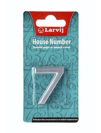 Дверной номер 7 самоклеющийся, пластик, серебристый