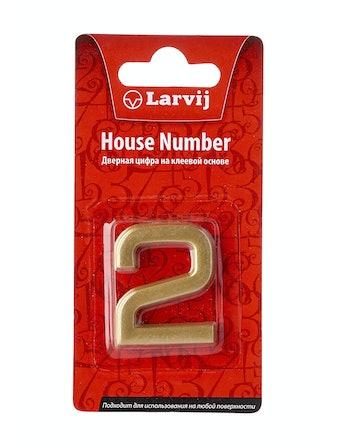 Дверной номер 2 самоклеющийся, пластик, золотистый