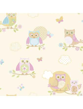 Tapet Just 4 Kids Pink Owls G56035