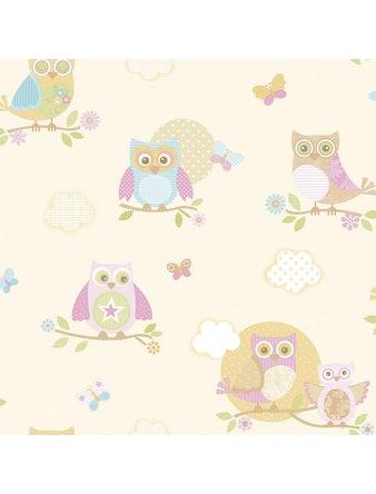 Tapet Just 4 Kids Pink Owls G56035