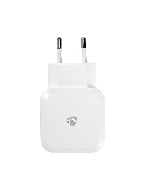 VERKKOLATURI NEDIS 2 X USB-A 4.8 A VALKOINEN