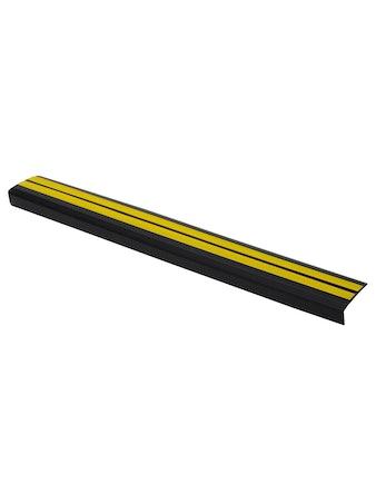 Профиль угловой антискользящий самоклеющийся, черно-желтый, 0,91 м