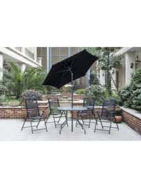 Möbelgrupp Lena-Karin 4 stolar med parasoll och bord