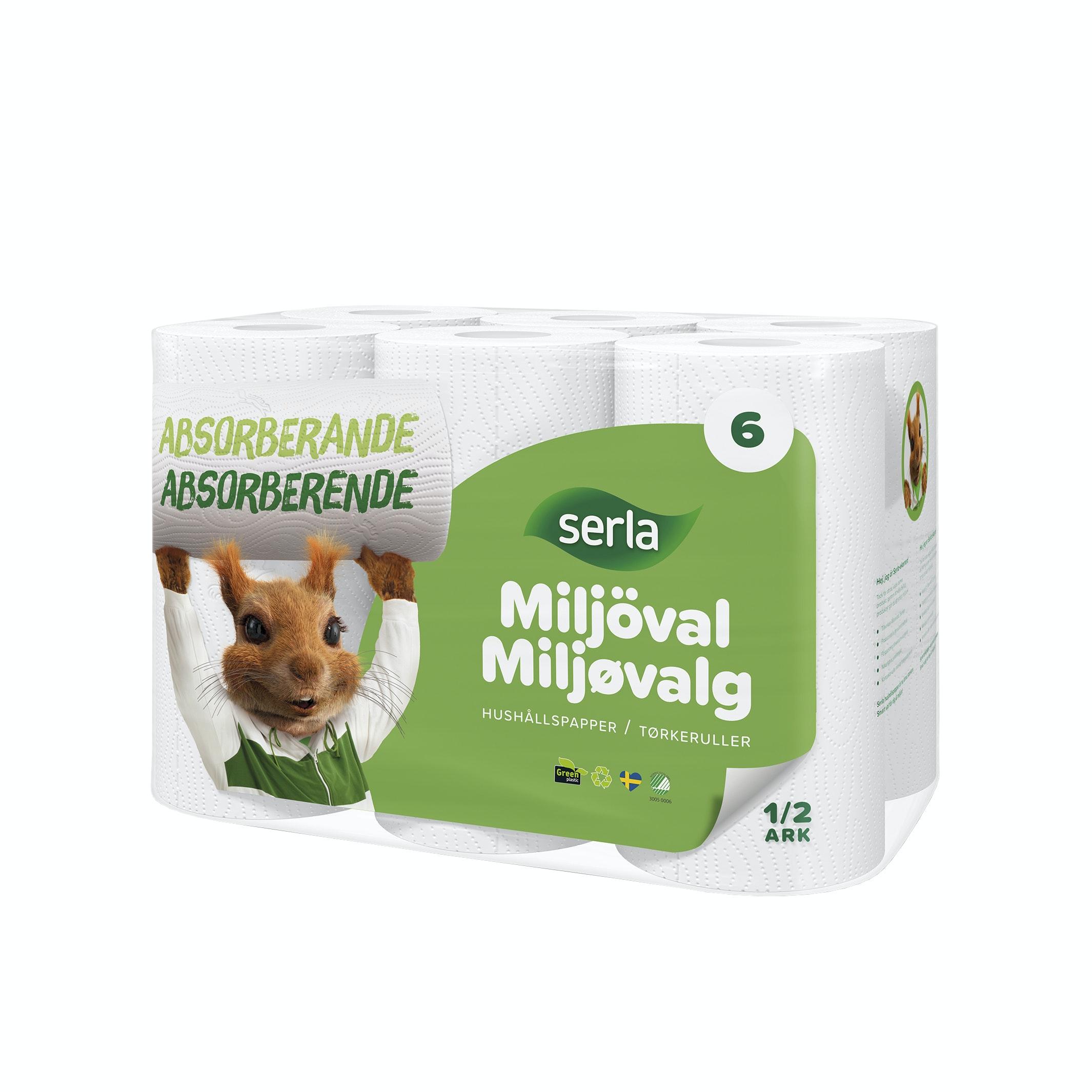 Hushållspapper Serla Miljöval 6P