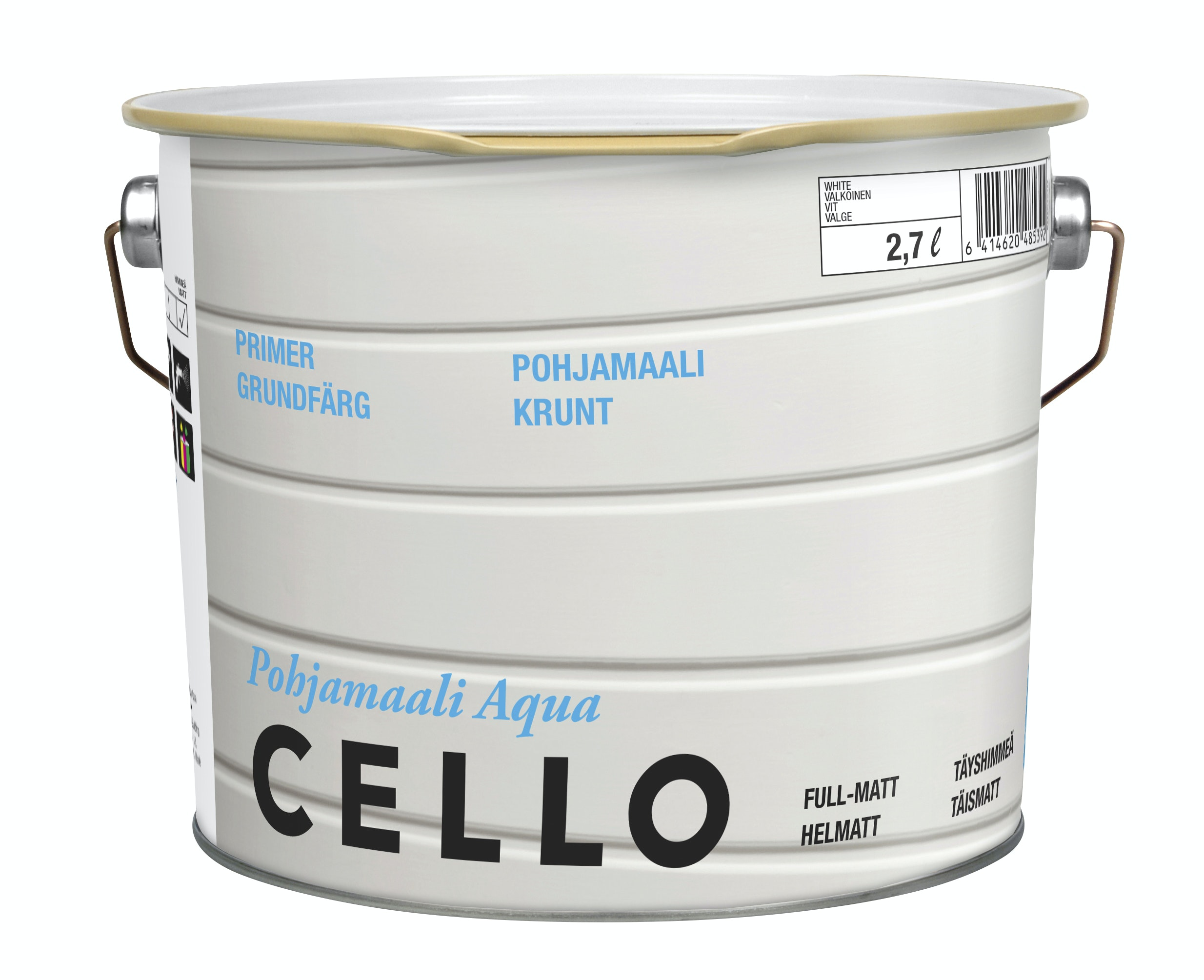Grundfärg Cello Aqua Helmatt Vit/Bas 1 2,7l