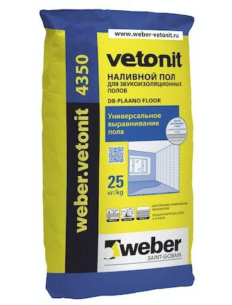 Наливной пол для звукоизоляционных полов Weber Vetonit 4350, 25 кг