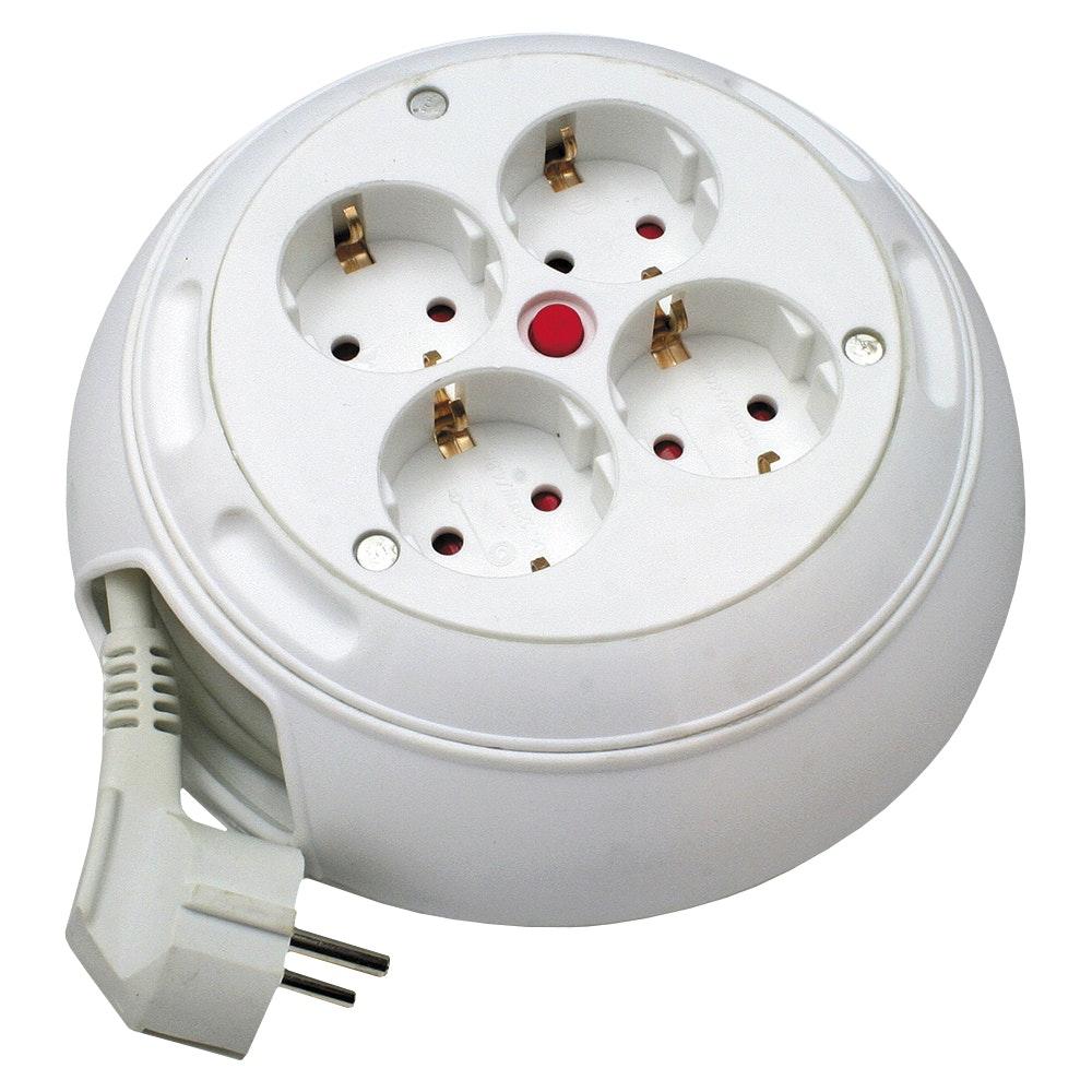 Kabelrulle Opal 4-Uttag H05VV-F 16A 230V IP20 Vit