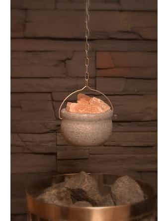 Saltskål Nikkarien Med Bergsalt För Bastu