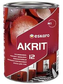 Краска для стен Eskaro Akrit-12, моющаяся, база TR, 0,9 л