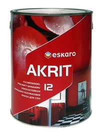 Краска для стен Eskaro Akrit-12, моющаяся, белая, 2,85 л