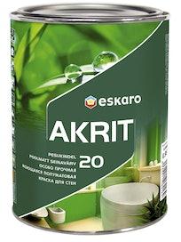 Краска для стен Eskaro Akrit-20, моющаяся, полуматовая, база TR, 0,9 л