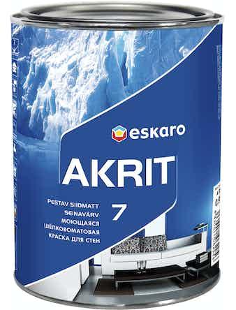 Краска в/д моющаяся ESKARO Akrit-7 шелковисто-матовая основа TR 0,9л