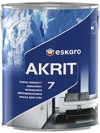 Краска для стен Eskaro Akrit-7, моющаяся, шелковисто-матовая, база TR, 2,7 л