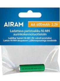 AKKU AIRAM NIMH 600MAH AA 3,2V LUCY-SOLAR-PIHAVALAISIMEEN