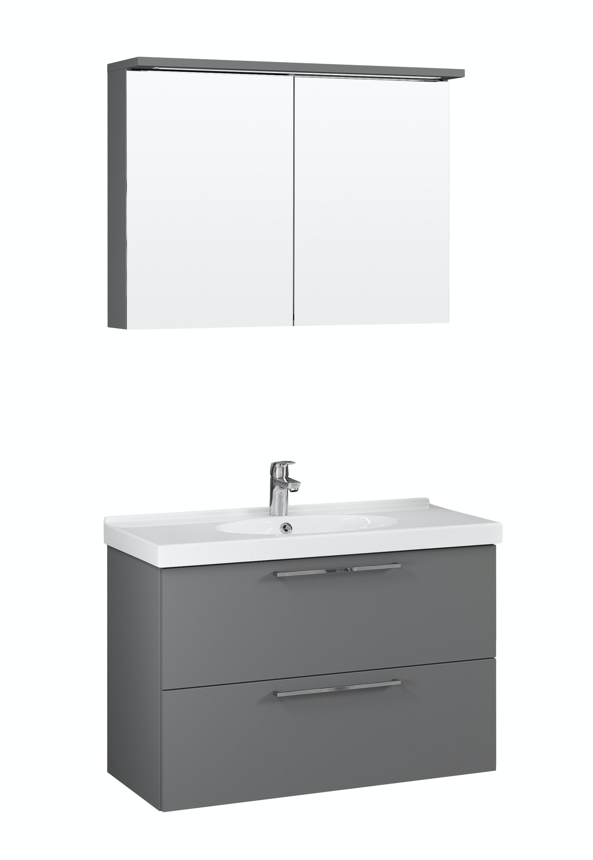 Möbelpaket Temal Trend 82X50 Grå Med Spegelkåp