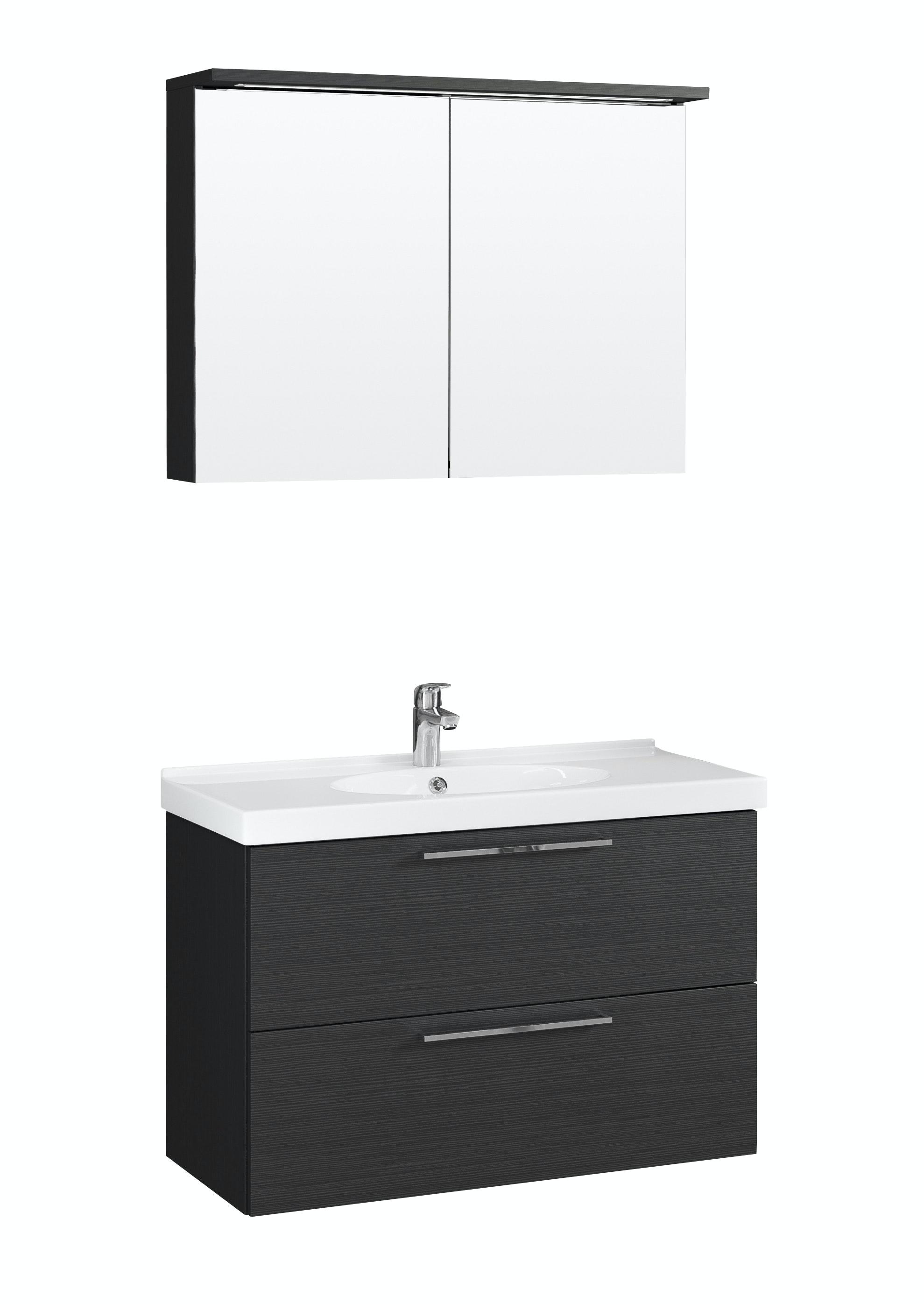 Möbelpaket Temal Trend 82X50 Svart Med Spegelskåp