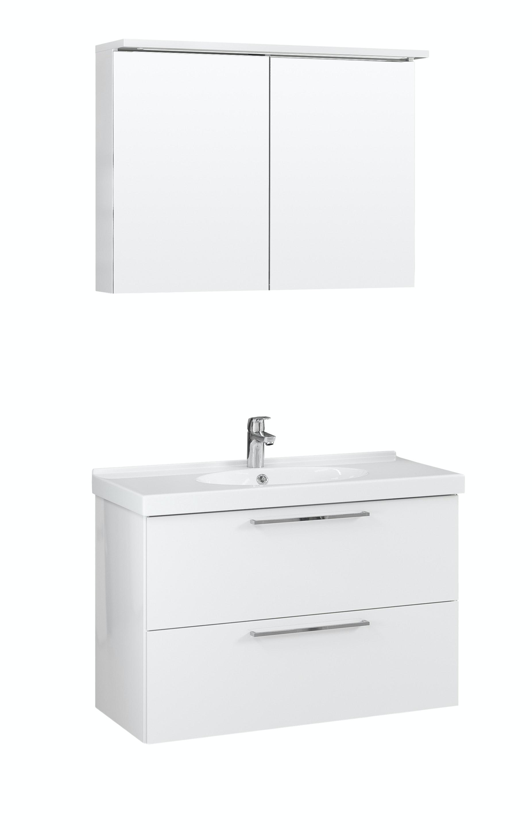 Möbelpaket Temal Trend 82X50 Högblank Vit Med Spegelskåp