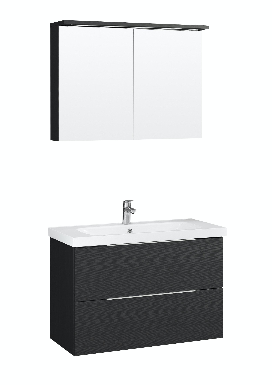 Möbelpaket Temal Stella 102X45 Svart Med Spegelskåp