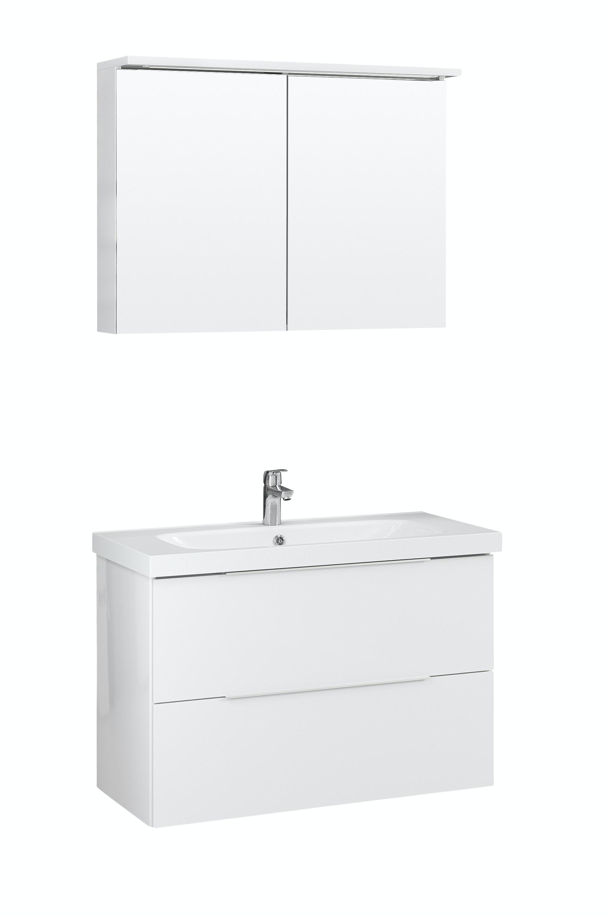 Möbelpaket Temal Stella 102X45 Högblank Vit Med Spegel
