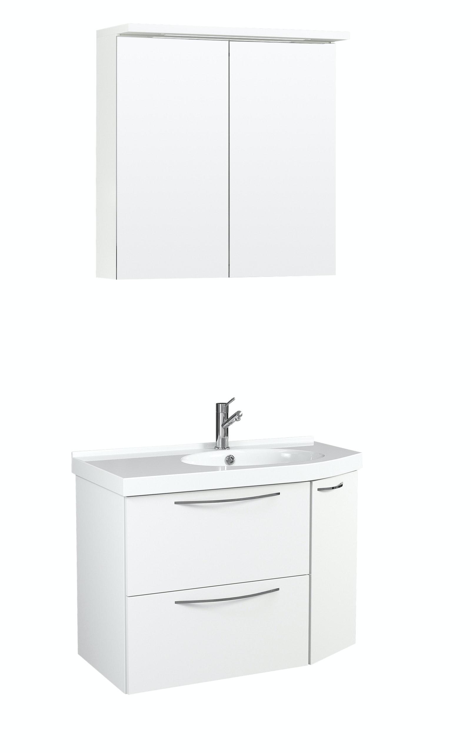 Möbelpaket Temal Mondo 67X40 Höger Vit Med Spegelskåp