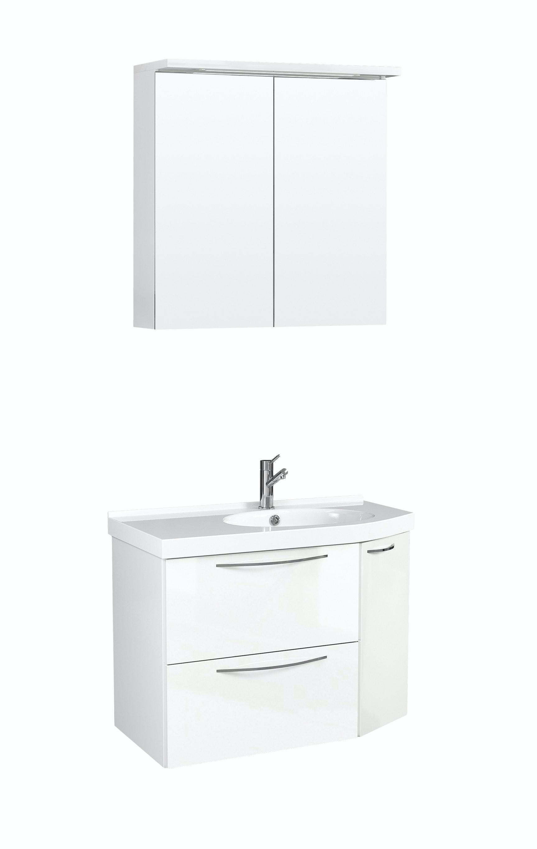Möbelpaket Temal Mondo 67X40 Höger Vit Högblank  Med Spegelskåp