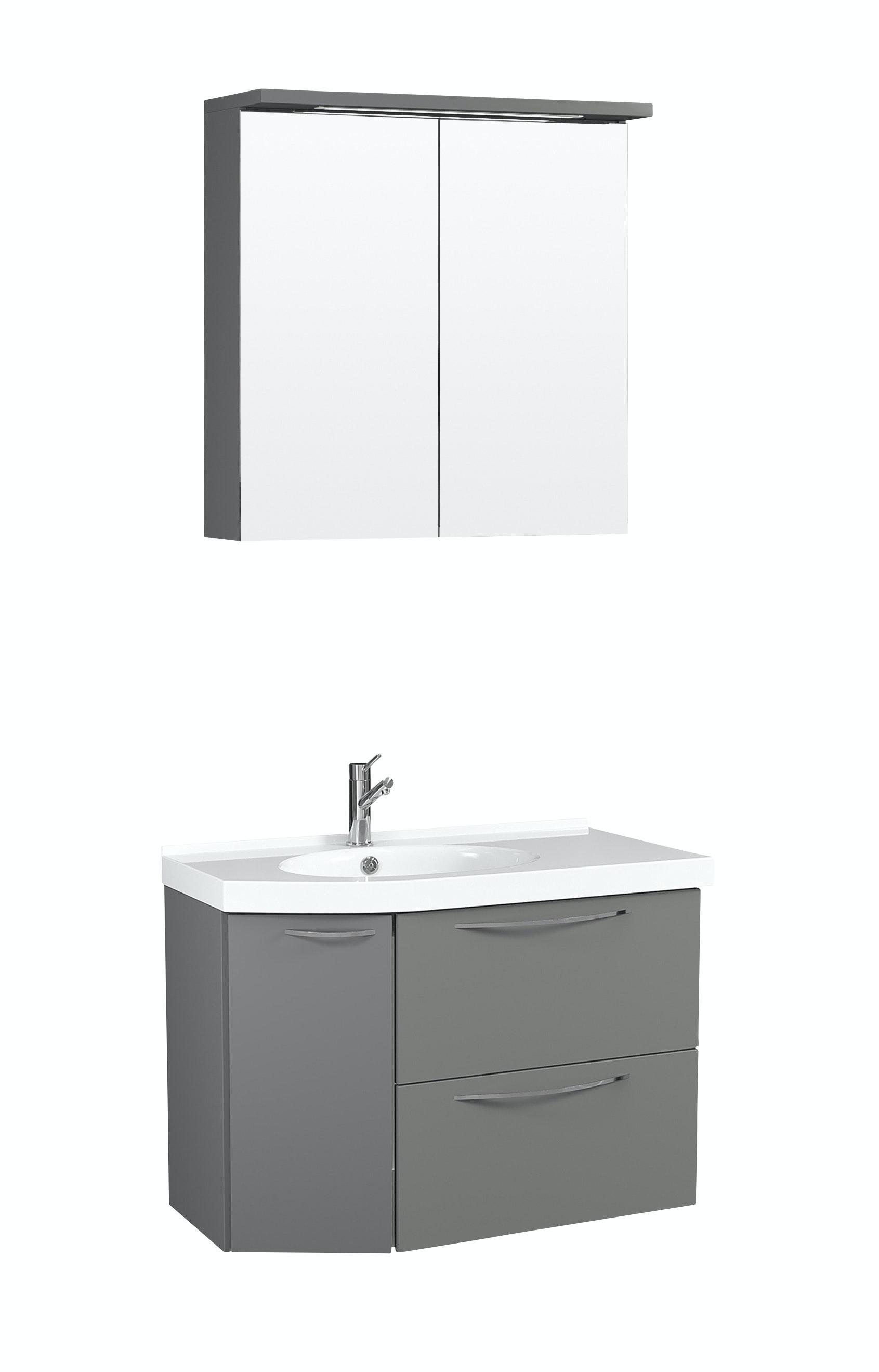 Möbelpaket Temal Mondo 67X40 Vänster Grå Med Spegelskåp