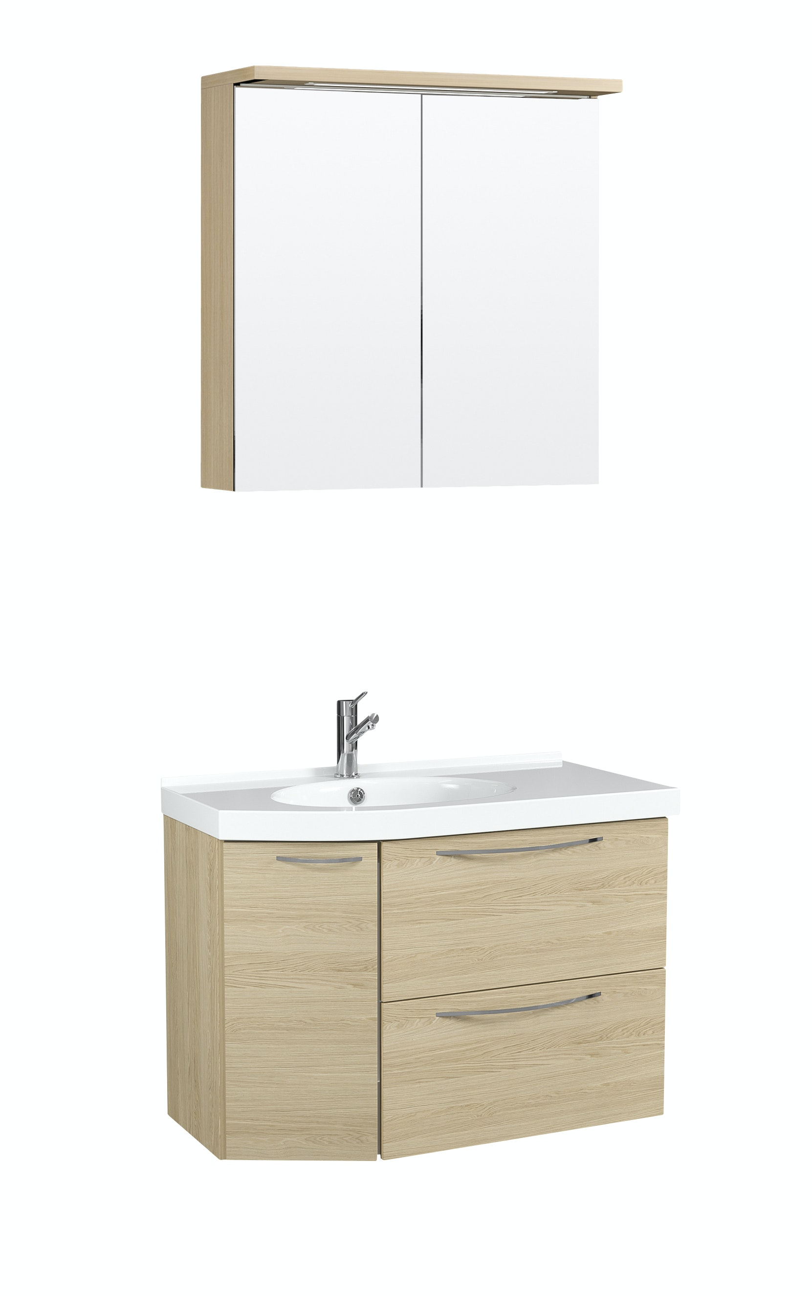 Möbelpaket Temal Mondo 67X40 Vänster Ek Med Spegelskåp