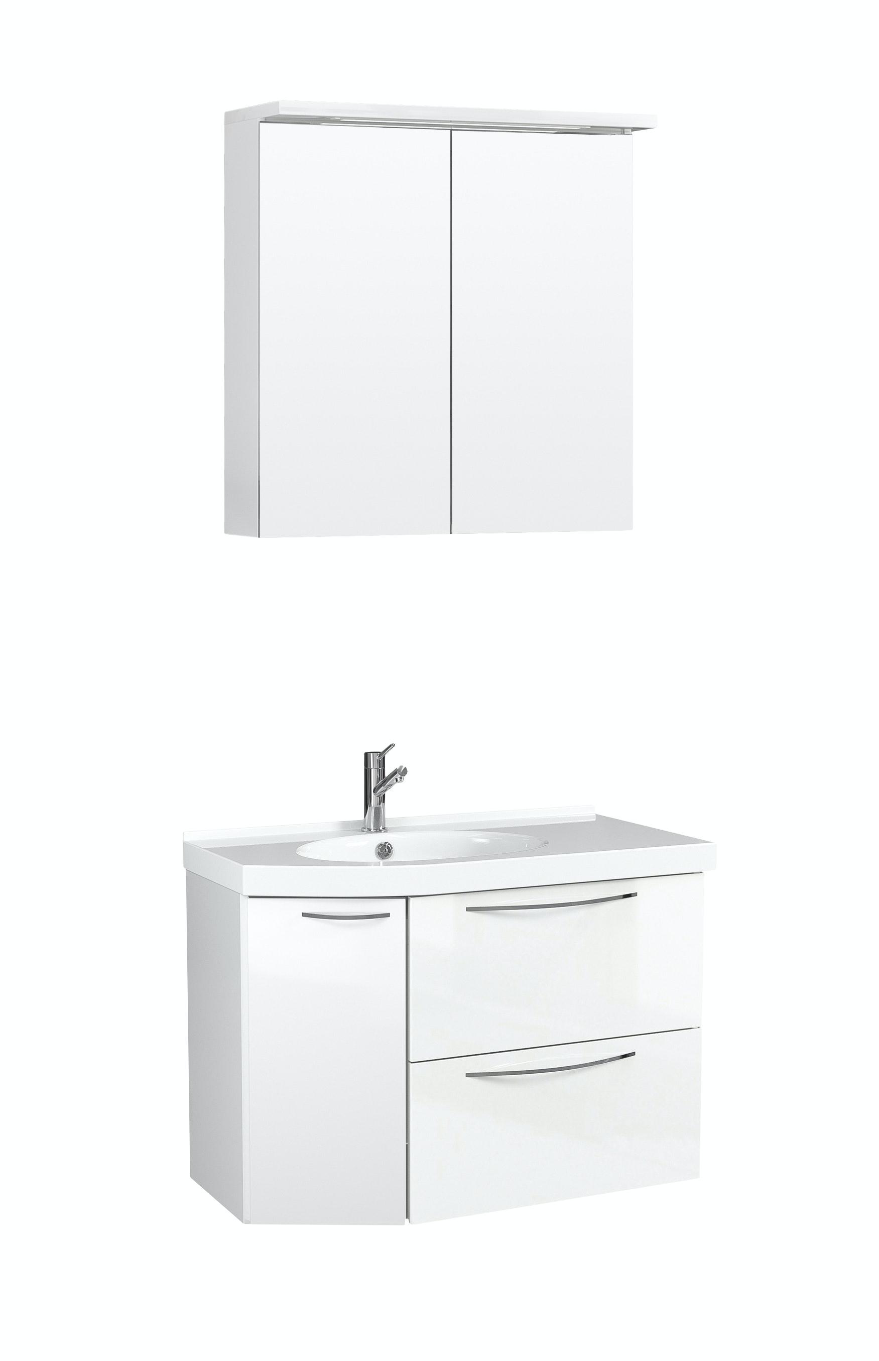 Möbelpaket Temal Mondo 67X40 Vänster Vit Högblank  Med Spegelskåp