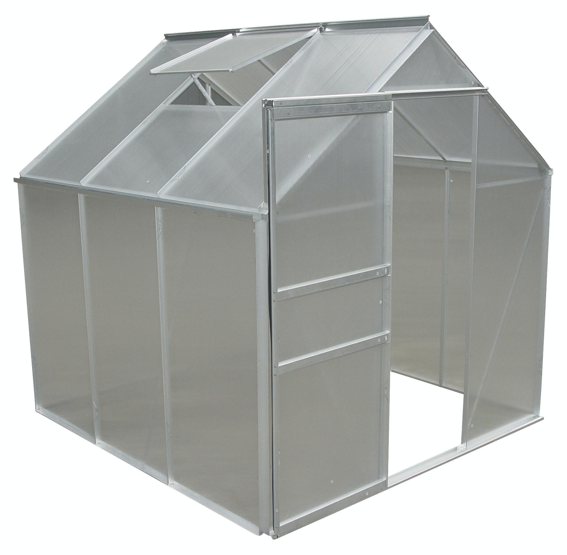 Växthus 3,7 kvm Aluminium Med Sockel