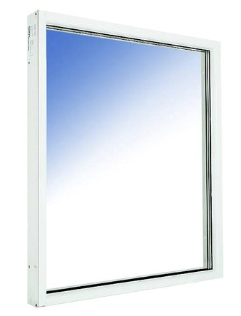 Fönster fast karm Outline HFKA 12x16 vitmålade aluminium härdat in/ut