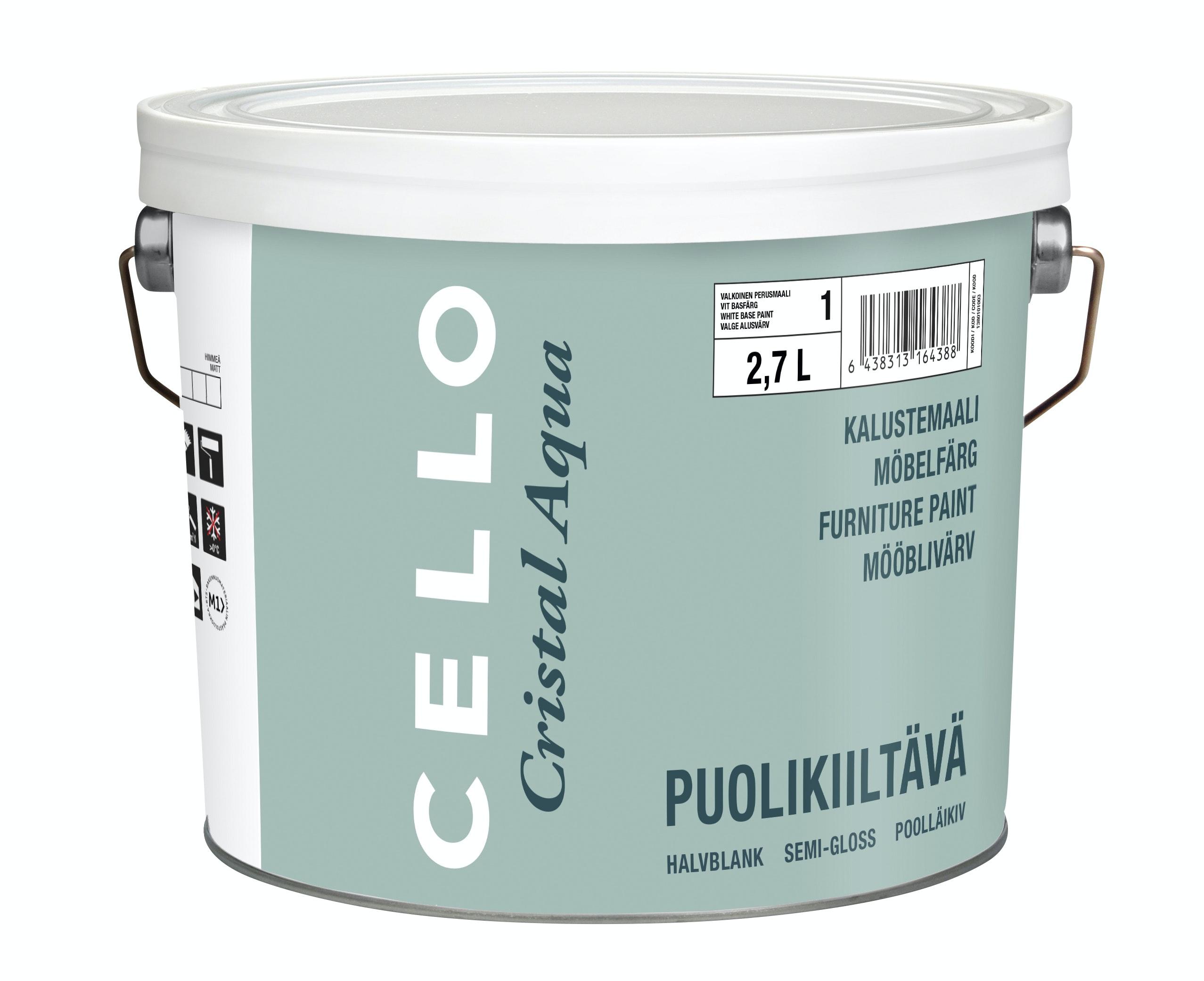 Snickerifärg Cello Cristal Aqua Halvblank Vit/Bas 1 2,7l