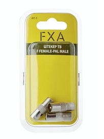 Штекер ТВ FXA, F female-PAL male, 3 шт