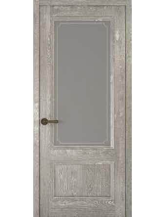 Дверное полотно со стеклом Рива Классика-1 Рамка, дуб серый, 800 х 2000 мм