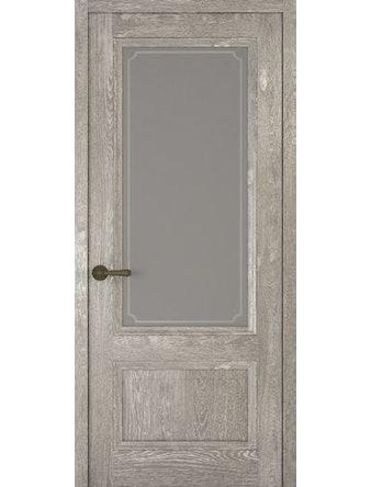 Дверное полотно со стеклом Рива Классика-1 Рамка, дуб серый, 900 х 2000 мм