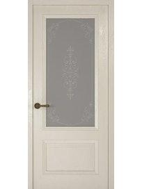 Дверное полотно со стеклом Рива Классика-1 Флер, дуб белый, 400 х 2000 мм