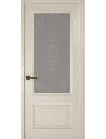 Дверное полотно со стеклом Рива Классика-1 Флер, дуб белый, 900 х 2000 мм