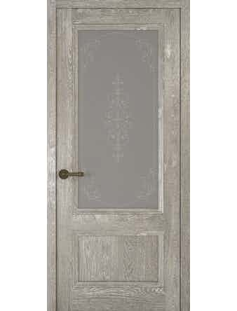 Дверное полотно со стеклом Рива Классика-1 Флер, дуб серый, 400 х 2000 мм
