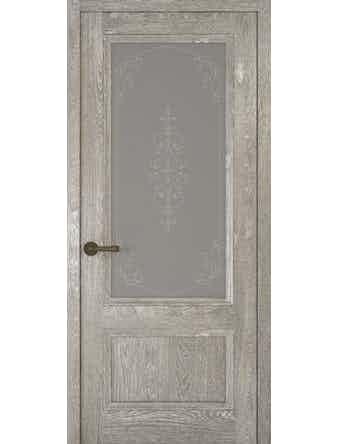 Дверное полотно со стеклом Рива Классика-1 Флер, дуб серый, 700 х 2000 мм