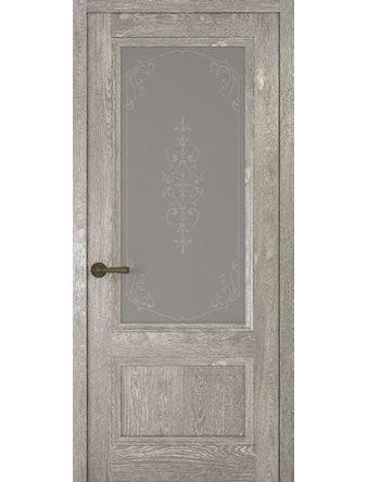 Дверное полотно со стеклом Рива Классика-1 Флер, дуб серый, 800 х 2000 мм