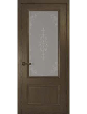 Дверное полотно со стеклом Рива Классика-1 Флер, дуб табачный, 600 х 2000 мм