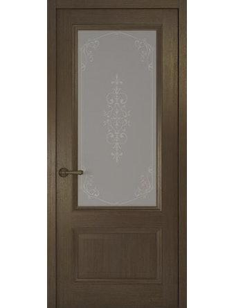 Дверное полотно со стеклом Рива Классика-1 Флер, дуб табачный, 800 х 2000 мм