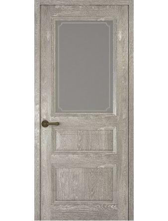 Дверное полотно со стеклом Рива Классика-2 Рамка, дуб серый, 400 х 2000 мм