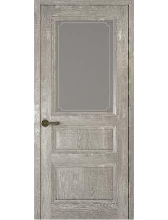 Дверное полотно со стеклом Рива Классика-2 Рамка, дуб серый, 600 х 2000 мм