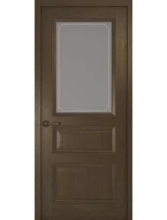 Дверное полотно со стеклом Рива Классика-2 Рамка, дуб табачный, 400 х 2000 мм