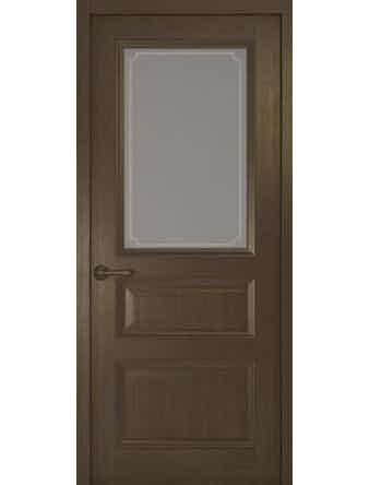 Дверное полотно со стеклом Рива Классика-2 Рамка, дуб табачный, 600 х 2000 мм
